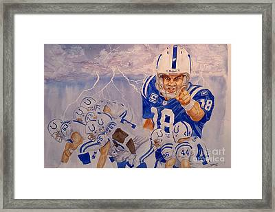 Peyton Manning - Perfect Storm Framed Print by George  Brooks