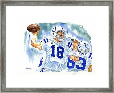 Peyton Manning - The Technician Framed Print by George  Brooks