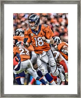 Peyton Manning Art 2 Framed Print by Joe Hamilton