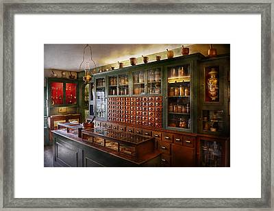 Pharmacy - I'll Be Out In A Minute  Framed Print by Mike Savad