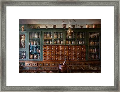 Pharmacy - Right Behind The Counter Framed Print by Mike Savad