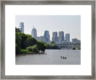 Philadelphia Along The Schuylkill River Framed Print by Bill Cannon