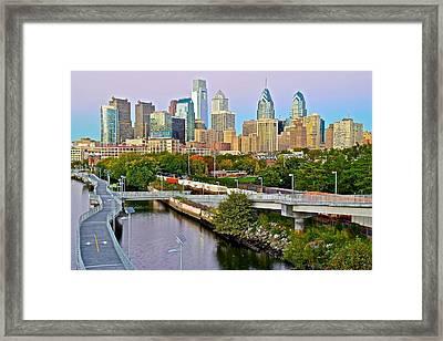 Philadelphia At Dusk Framed Print by Frozen in Time Fine Art Photography