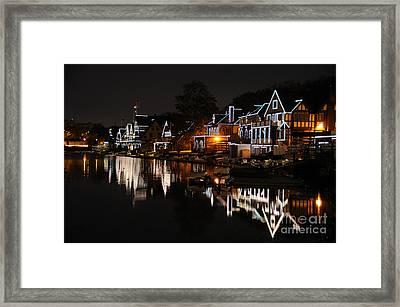 Philadelphia Boathouse Row At Night Framed Print by Gary Whitton