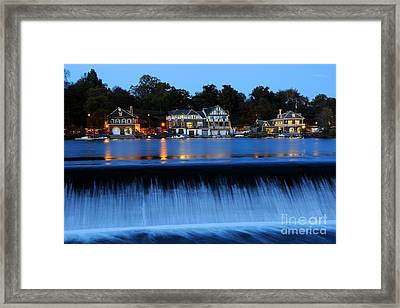 Philadelphia Boathouse Row At Twilight Framed Print by Gary Whitton