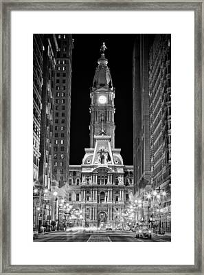 Philadelphia City Hall At Night Framed Print by Val Black Russian Tourchin
