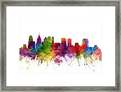 Philadelphia Cityscape 06 Framed Print by Aged Pixel