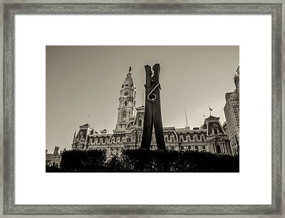 Philadelphia - Clothes Pin Statue And City Hall In Sepia Framed Print by Bill Cannon