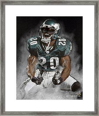 Philadelphia Eagles Brian Dawkins The Legend Framed Print by Jordan Spector