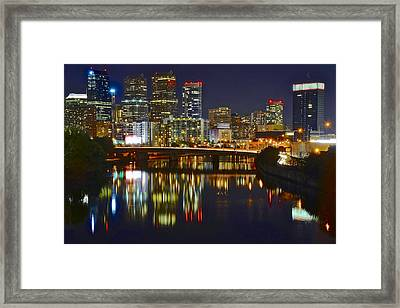 Philadelphia Evening Lights Framed Print by Frozen in Time Fine Art Photography