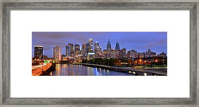 Philadelphia Philly Skyline At Dusk From Near South Color Panorama Framed Print by Jon Holiday