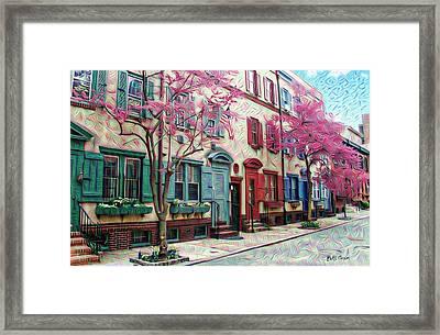 Philadelphia Row Homes In The Spring - Van Pelt Street Framed Print by Bill Cannon
