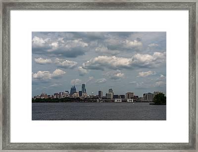 Philadelphia Skyline Across The Delaware River Framed Print by Terry DeLuco