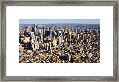 Philadelphia Skyline Aerial Graduate Hospital Rittenhouse Square Cityscape Framed Print by Duncan Pearson