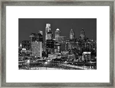 Philadelphia Skyline At Night Black And White Bw  Framed Print by Jon Holiday