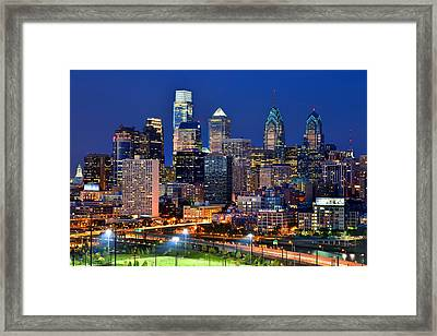 Philadelphia Skyline At Night Framed Print by Jon Holiday