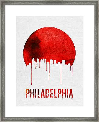 Philadelphia Skyline Redskyline Red Framed Print by Naxart Studio