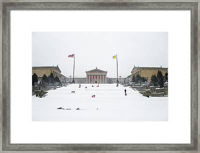 Philadelphia - Sledding On The Art Museum Steps  Framed Print by Bill Cannon