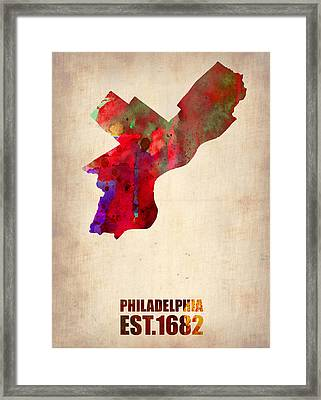 Philadelphia Watercolor Map Framed Print by Naxart Studio