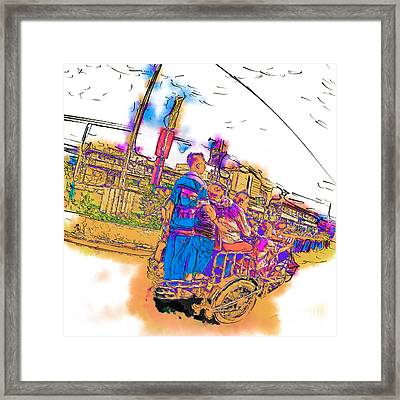 Philippine Family Tricycle Framed Print by Rolf Bertram