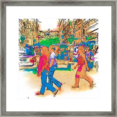 Philippine Girls Crossing Street Framed Print by Rolf Bertram