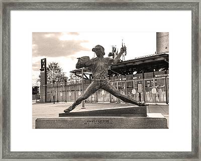 Phillies Hall Of Famer Steve Carlton In Sepia Framed Print by Bill Cannon