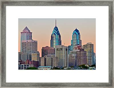 Philly At Sunset Framed Print by Frozen in Time Fine Art Photography