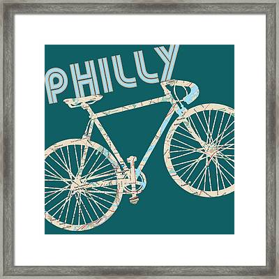 Philly Bicycle Map Framed Print by Brandi Fitzgerald