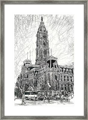 Philly City Hall Framed Print by Michael  Volpicelli