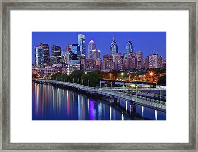 Philly Nightscape Framed Print by Frozen in Time Fine Art Photography