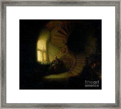 Philosopher In Meditation Framed Print by Rembrandt