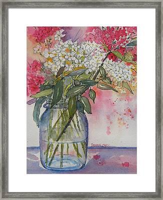 Phlox In Mason Jar Framed Print by Donna Cary