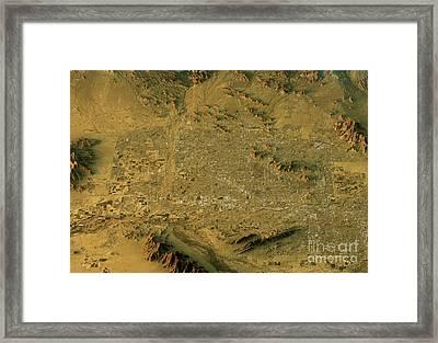 Phoenix 3d Landscape View South-north Natural Color Framed Print by Frank Ramspott