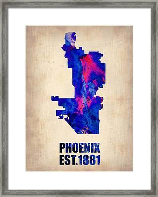 Phoenix Watercolor Map Framed Print by Naxart Studio
