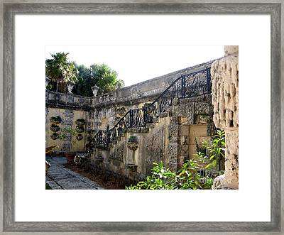 Photography Of Garden With Stair  Framed Print by Mario Perez