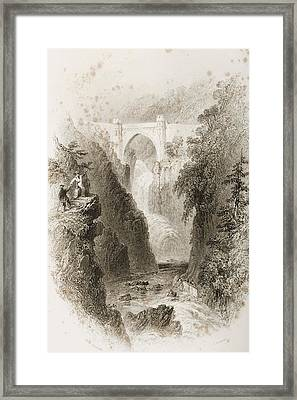 Phoul A Phuca Falls, Ireland.drawn By Framed Print by Vintage Design Pics