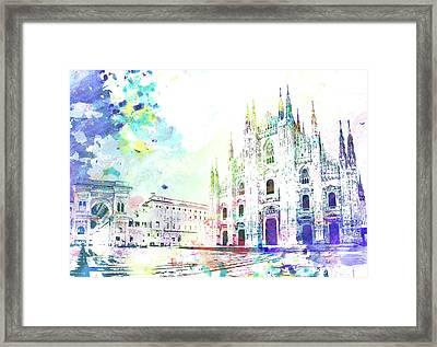 Piazza Del Duomo, Milano Framed Print by Dante Blacksmith