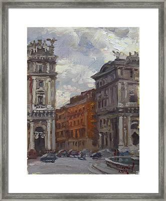 Piazza Della Repubblica Rome Framed Print by Ylli Haruni