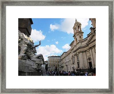 Piazza Navona Framed Print by Leena Kewlani