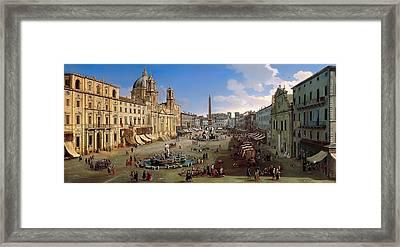 Piazza Novona - Rome Framed Print by Mountain Dreams
