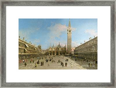 Piazza San Marco Looking Towards The Basilica Di San Marco  Framed Print by Canaletto