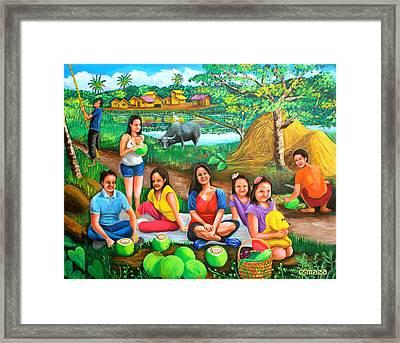 Picnic At The Farm Framed Print by Cyril Maza