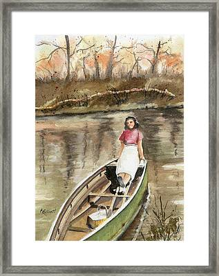 Picnic On The Great Miami Framed Print by Marsha Elliott
