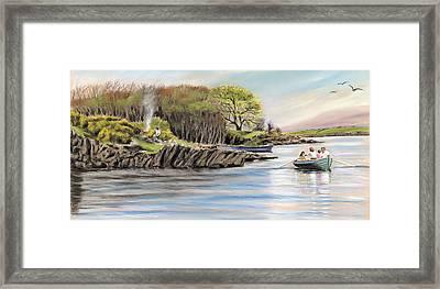 Picnic On The Lake Framed Print by Vanda Luddy