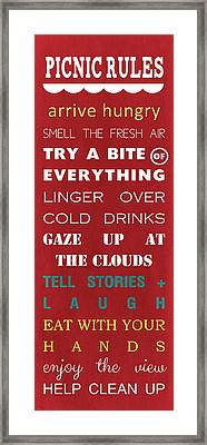 Picnic Rules Framed Print by Linda Woods