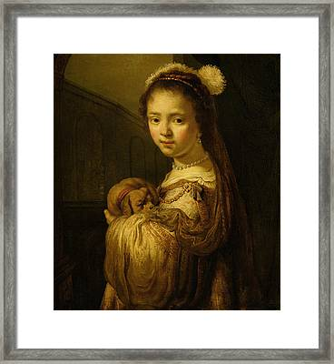 Picture Of A Young Girl Framed Print by Govaert Flinck