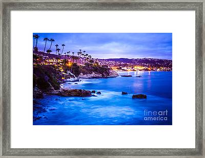 Picture Of Laguna Beach California City At Night Framed Print by Paul Velgos