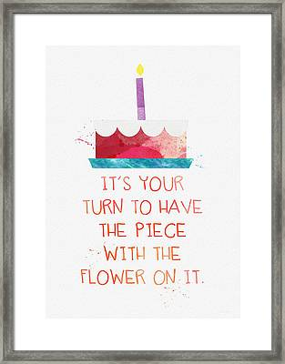 Piece Of Cake- Card Framed Print by Linda Woods