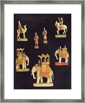 Pieces From A Chess Set In Carved And Framed Print by Vintage Design Pics