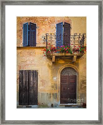 Pienza Balcony Framed Print by Inge Johnsson